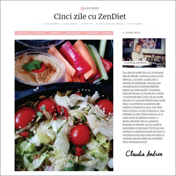 Articol despre ZenDiet - claudiaandron.ro